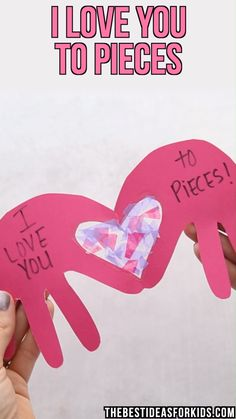 Love you to pieces card 💖 - cute and easy valentine's day craft for k Toddler Valentine Crafts, Kinder Valentines, Valentines Day Activities, Funny Valentine, Printable Valentine, Homemade Valentines, Valentines Crafts For Kindergarten, February Toddler Crafts, Valentines Crafts For Preschoolers