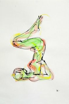 This gorgeous yoga drawing was done by Bulgarian born artist Boryana Korcheva. I love how she captured this pose!