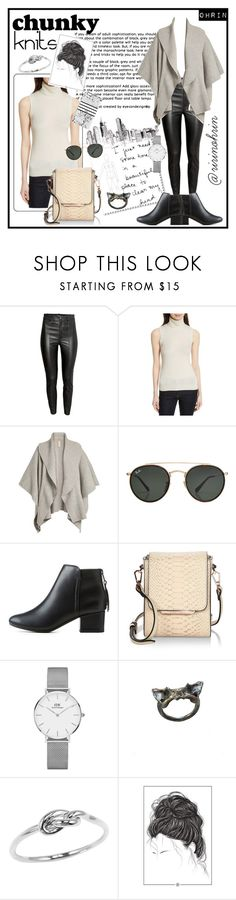 """chunky knits in black & white"" by rindularas on Polyvore featuring H&M, Theory, Burberry, Ray-Ban, City Classified, Kendall + Kylie, Daniel Wellington, Rianna Phillips, BlackWhite and knits"
