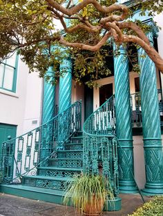 Wrought-iron staircase at the historic John Rutledge House In, Charleston, South Carolina
