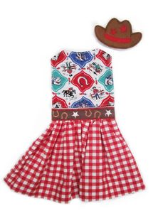 Outfit for Paper Doll Blanket:  Cowgirl top and skirt with cowboy hat
