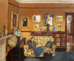 British Paintings: Mary Dawson (Bishop) ElwellThe interior of the Elwell home, with Mary seated on a soffa. Interestingly this picture was inscribed with details of the artist and the painting