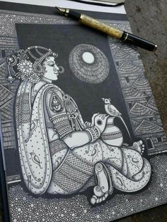 By pooja pande Abstract Pencil Drawings, Dark Art Drawings, Art Drawings Beautiful, Art Drawings Sketches, Kalamkari Painting, Madhubani Painting, Doodle Art Drawing, Mandala Drawing, Arte Krishna