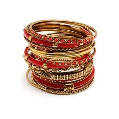 Amrita Singh Adreena Bangle Set in Gold and Red ($100) found on Polyvore (The look, NOT the price)