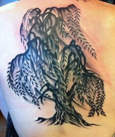 willow tree tattoos | Black -and-gray-willow-tree- tattoo