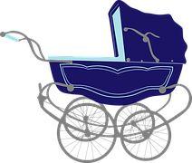Bébé, Bleu, Transport, Pram, Poussette