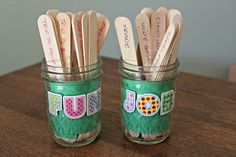 DIY Tongue Depressor Chore Sticks. Fun Jar + Job Jar. (Ready to take chores online? Try FamZoo.com)