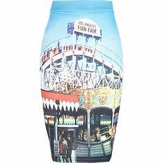 Girls blue fairground print tube skirt - skirts - girls
