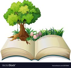 An open book with a tree vector image on VectorStock Disney Frames, Book Tree, Islamic Cartoon, School Frame, School Murals, Kids Background, Book Logo, Cute Frames, Reading Art