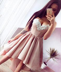 Cute champagne high low prom dress, evening dress, cute homecoming dress