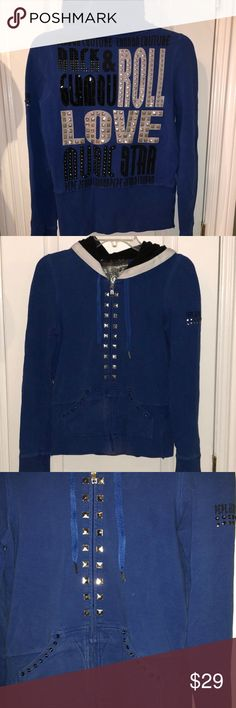 Pepe jeans studded blue hoodie medium Rhinestone and stud embellishment royal blue hoodie size medium. Color a little faded slightly. Some missing stones shown all in pictures. Pepe Jeans Tops Sweatshirts & Hoodies