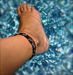 Black with silver bead wrap anklet