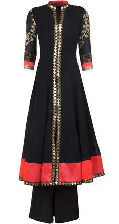 Black sherwani style anarkali set by OHAILA KHAN. Shop at http://www.perniaspopupshop.com/whats-new/ohaila-khan-5966