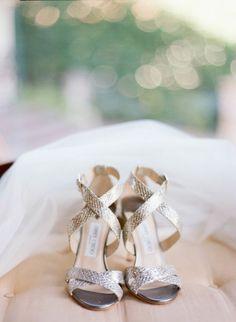 Silver cross strap Jimmy Choo stilettos: http://www.stylemepretty.com/texas-weddings/dallas/2016/10/27/classic-dallas-four-seasons-wedding/ Photography: Jacqui Cole - http://jacquicole.com/