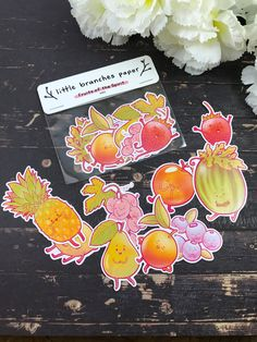 Kawaii Fruit, Fruit Of The Spirit, Waterproof Stickers, Sticker Paper, All Design, Branches, Hand Drawn, How To Draw Hands, Card Making