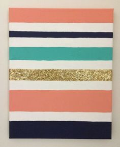 Custom Glitter Striped Canvas- Dorm Room, Graduation, Sorority or Baby gifts