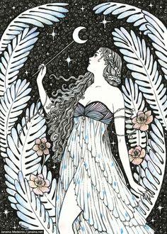 Moonlight Spell by JanainaArt on DeviantArt Cosmic Art, Art Studies, Female Art, Art Pictures, Creative Art, Art Inspo, Fantasy Art, Cool Art, Art Drawings