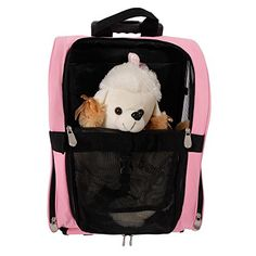 MicroMall Portable Comfortable Dog Cat Rolling Backpack Pet Travel Bag Pink * Check this awesome product by going to the link at the image.(This is an Amazon affiliate link and I receive a commission for the sales)