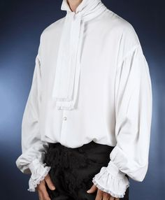 One of our most popular shirts. The Cravat Shirt is made from a cotton / viscose blend fabric, the fabric has a lovely weight and drape. Victorian Shirt, Frill Shirt, Guayabera Shirt, White Shirt Men, White Shirts, Baggy, Historical Costume, Shirt Blouses, Men's Shirts