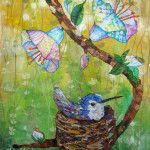 Nesting Hummingbird - Mixed Media Collage Original by Lisa Morales. www.lisamoralesmixedmedia.com
