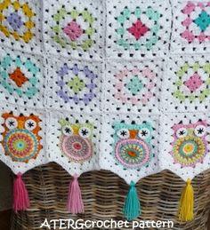 Häkeln Sie Muster Eule Oma Square Babydecke von von ATERGcrochet