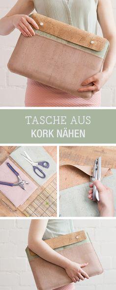 Tasche für den Laptop aus Kork nähen, modische Accessoires Nähen / diy sewing tutorial: laptop case made of cork via DaWanda.com