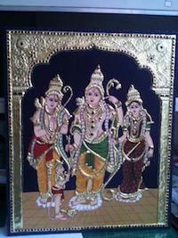Painting | Tanjore | Ram Seetha Lakshma Tanjore Paiting | CardsNCrafts