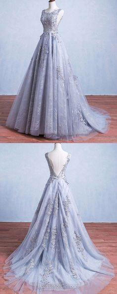 Prom Dresses Silver Lace Tulle Long Prom Dress/Evening Dress #JKL027