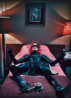 Linda Evangelista goes superhero for W Magazine September 2011. She is wearing Calvin Klein Collection leather dress. Piazza Sempione wool and silk turtleneck. David Samuel Menkes mask; Atsuko Kudo gloves; Falke tights; Manolo Blahnik boots. Shot by Steven Klein with an amazing styling  by Edward Enninful.