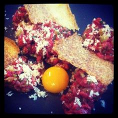 Bistec de tartar. David Blackmore's 600 day grain fed wagyu, served with fresh horseradish, quail egg & house made 'pringles'