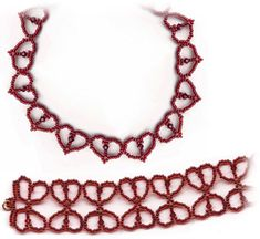 Free Simple Hearts Necklace and Bracelet Pattern by Sandra D. Halpenny - Item Number 10912 - at Bead-Patterns.com