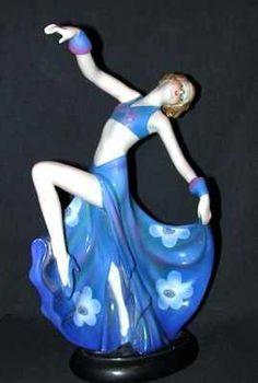 Art Deco Figurine. Lady Dancer in Blue w Flowers.
