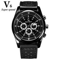 V6 Brand Luxury Sports Watch Men Fashion leather Military Quartz Wrist Watches For Men Clock Relogio Masculino 2017 reloj hombre