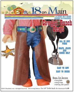 18 On Main Cowgirl Ranch Chaps Doll Clothes Pattern 18 inch American Girl Dolls | Pixie Faire #18onMain