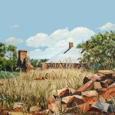 Macpherson Hoemstead, once known as Carnamah House. This is old painting by Perth artist June Stevenson in about 2004.    Discover more about the Macpherson family and their homestead at www.carnamah.com.au/macpherson-family.html Old Paintings, Perth, Homesteading, Wood, Artist, Photos, House, Instagram, Pictures