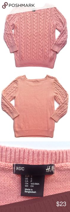 """H&M Cable Knit Sweater Pink cable knit sweater from H&M, size small. Worn once, no flaws. 3/4 sleeves. Very soft and cozy. Perfect for fall! • Length: 23"""", Inseam: 14"""", Bust: 16"""" H&M Sweaters Crew & Scoop Necks"""