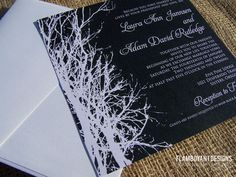 Enchanted Tree Silhouette Wedding Invitations by Flamboyant Designs - The Wedding Chicks Enchanted Forest Prom, Enchanted Tree, Tree Wedding Invitations, Wedding Invitation Samples, Invites, Fall Wedding, Our Wedding, Dream Wedding, Wedding Ideas