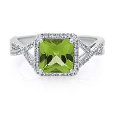 Square Peridot & Lab-Created White Sapphire Ring in Sterling Silver - Shop All Rings - Rings - Jewelry - Categories - Helzberg Diamonds Peridot Stone, Peridot Rings, Diamond Jewelry, Jewelry Rings, Titanic Jewelry, Silver Shop, Best Friend Jewelry, Diamond Engagement Rings, Wedding Rings
