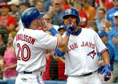 Josh Donaldson and Edwin Encarnacion after Encarnacion's HR during the Toronto Blue Jays' win over the Boston Red Sox on July Josh Donaldson, Mlb Teams, Toronto Blue Jays, Boston Red Sox, Baseball, Boys, Game Info, July 1, Sports