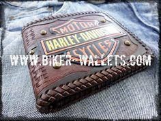 """Harley Davidson"" 5"" Custom Handmade Hand Tooled Leather Biker Wallet"