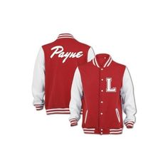 Bang Tidy Clothing Unisex Payne Varsity Jacket ❤ liked on Polyvore featuring outerwear, jackets, one direction, 1d, shirts, red letterman jacket, red varsity jacket, college jacket, teddy jacket and red jacket