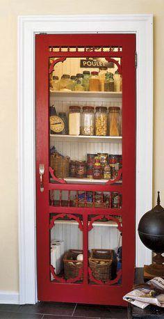 Antique screen door used as a pantry door! - Antique screen door used as a pantry door! Screen Door Pantry, Old Screen Doors, Old Doors, Diy Screen Door, Metal Screen, Antique Doors, Do It Yourself Vintage, Pantry Design, Design Kitchen