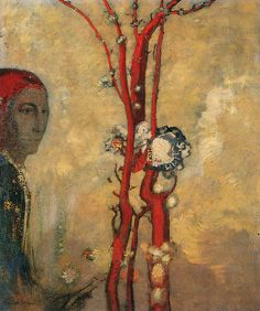 The Red Flower a.k.a. The Red Bush by Odilon Redon, circa 1905