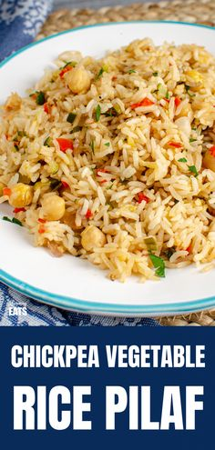 Chickpea Vegetable Rice Pilaf - A perfect simple side dish for when you fancy something a bit more flavourful than plain steamed rice. Rice Side Dishes, Side Dishes Easy, Mexican Food Recipes, Vegetarian Recipes, Healthy Recipes, Free Recipes, Dinner Recipes, Salmon Recipes, Vegetable Recipes
