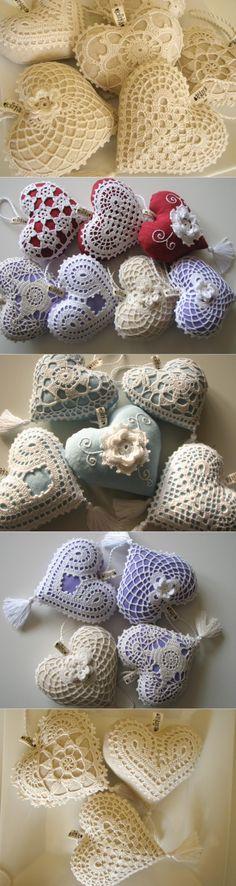 Ажурные винтажные сердечки связанные крючком - Perchinka63