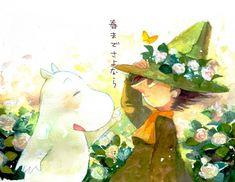 Moomin, Moomintroll, Snufkin by KleinerSkollexxx Butterfly Eyes, Moomin Valley, Tove Jansson, Old Cartoons, Flower Hats, Little My, Image Boards, Studio Ghibli, Fan Art