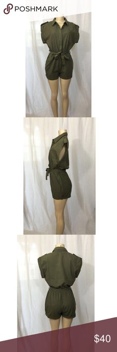 Olive Short Jumpsuit Brand new! Just in! Cute short jumpsuit to wear with heels or sneakers! There are loops where the green tie goes through. It has pockets as well. The material is 100% Rayon. Pants Jumpsuits & Rompers