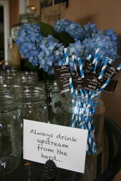 western baby shower mason jar drinking straws. I printed out labels and wrapped them around straws.