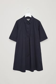COS image 2 of A-line poplin shirt dress in Dark Navy
