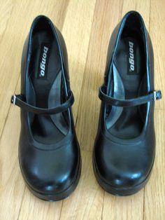 Vtg Blk goth Round Toe MARY JANE vegan leather Platform chunky Heel Shoes Sz 9. $45.00, via Etsy.